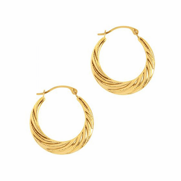 10K Yellow Gold Textured Graduated Hoop Earring with Hinged Clasp