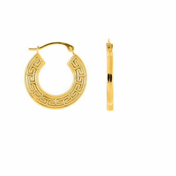 10K Yellow Gold Textured Greek Key Pattern Round Hoop Earring with