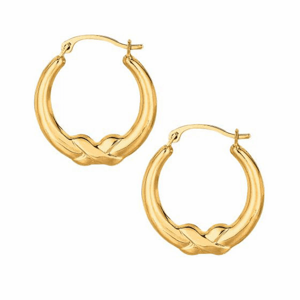10K Yellow Gold Textured Shiny Open Round Hoop with X Type Fancy
