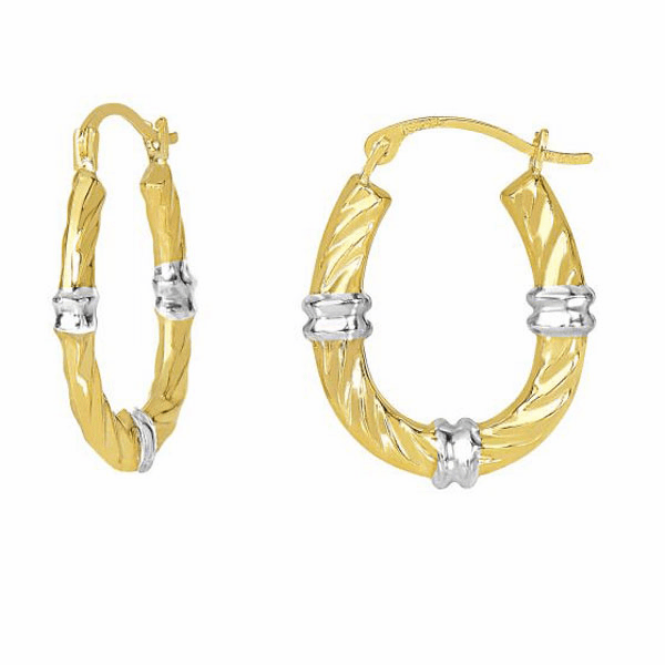 10K Yellow Gold Textured Shiny Open Round Wavey Hoop Fancy Earring