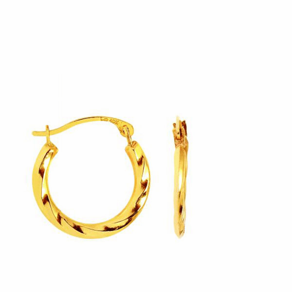 10K Yellow Gold Twisted Hoop Earring with Hinged Clasp