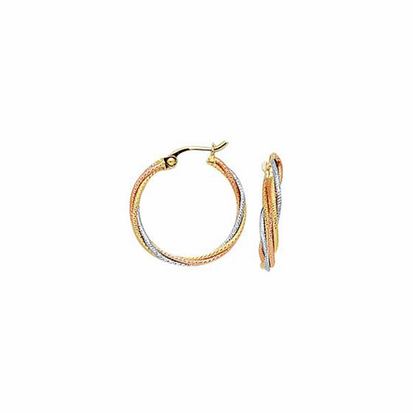 10K Yellow/Rose/White Gold Twisted Braided Hoop Earring