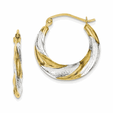 10k Yellow w/Rhodium Hoop Earrings
