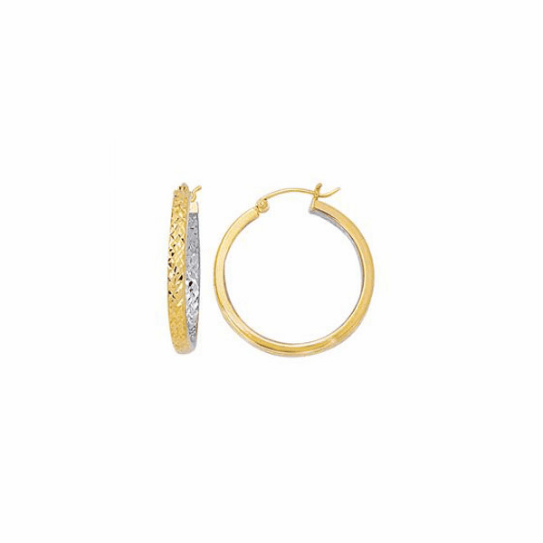 10K Yellow/White Gold 3X25mm Diamond Cut Hoop Earring