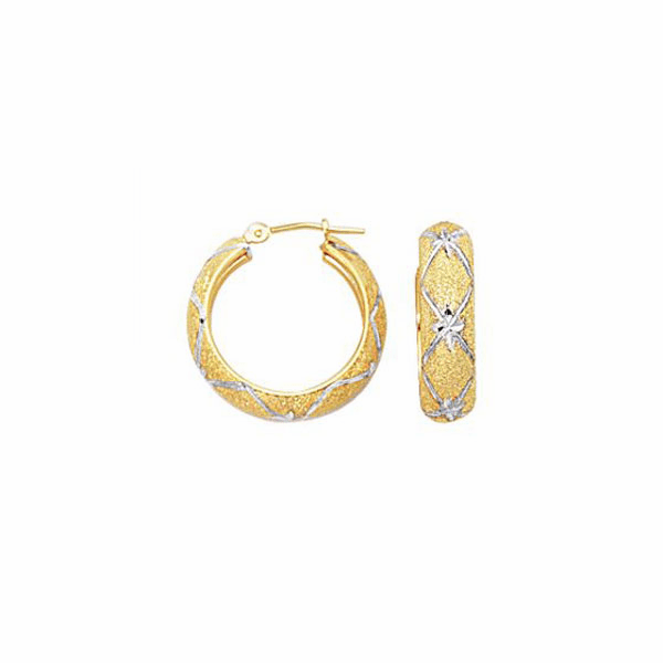 10K Yellow/White Gold 6.0mm Diamond Cut Textured Hoop Earring - 436FT