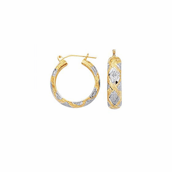 10K Yellow/White Gold 6.0mm Diamond Cut Textured Hoop Earring - 437FT