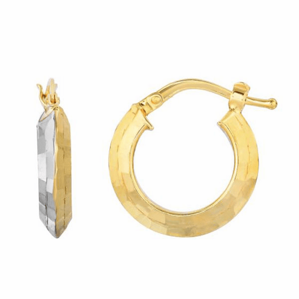 10K Yellow/White Gold Diamond Cut Fancy Round Tube 2 Tone Hoop Earring