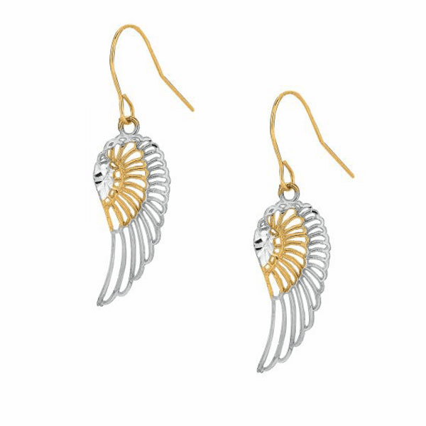 10K Yellow/White Gold Fancy Filigree Wing Earring with Euro Wire Clasp
