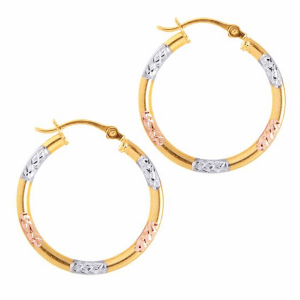 10K Yellow/White/Rose Gold Shiny Diamond Cut Round Hoop Earring