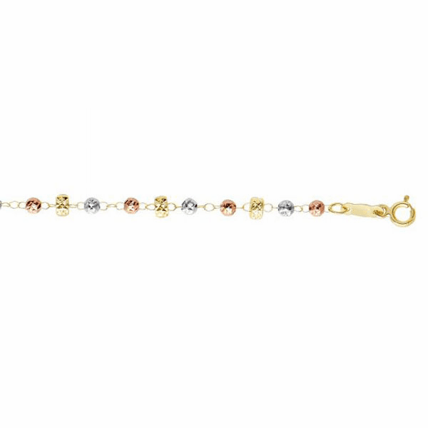 """10kt 7.5"""" Tri Color Gold White/Rose Bead/Small Yellow Donut Bracelet"""