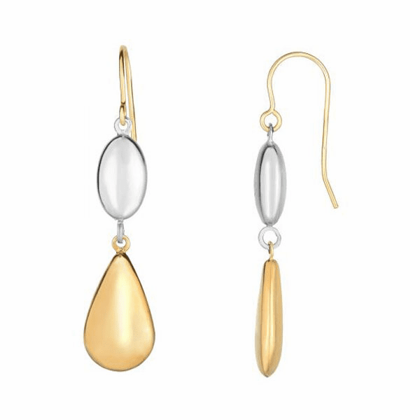 10Kt Gold White Puffed Marquis Shape/Yellow Puffed Teardrop Earring