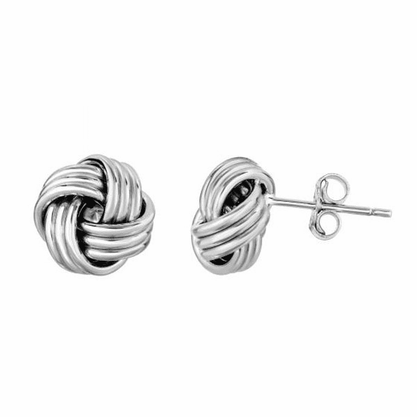 10Kt White Gold Shiny Loveknot Post Earring with Push Back Clasp