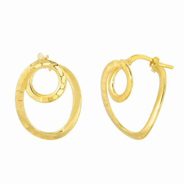 10Kt Yellow Gold Diamond Cut Small Circle In Oval Tube Hoop Earring
