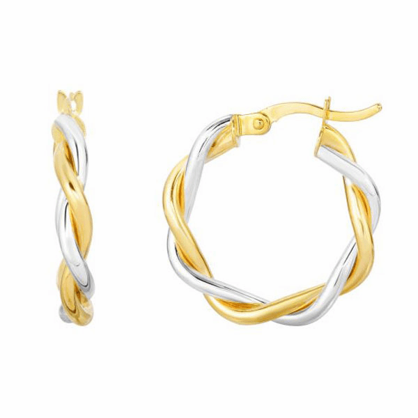 10Kt Yellow/White Gold 15X3mm Shiny Twisted Round Hoop Earring