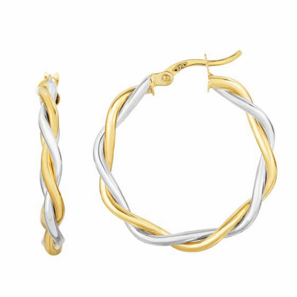 10Kt Yellow/White Gold 21X3mm Shiny Twisted Round Hoop Earring