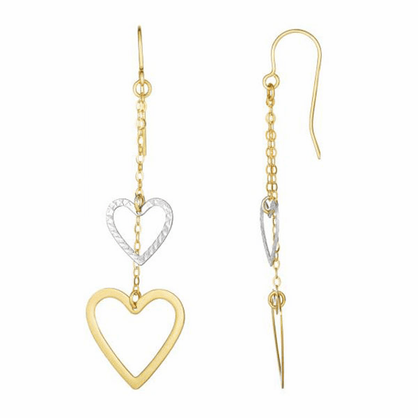 10Kt Yellow/White Gold Diamond Cut Open Heart Two Strand Drop Earring