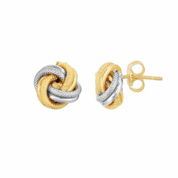 10Kt Yellow/White Gold Shiny/Textured Loveknot Post Earring