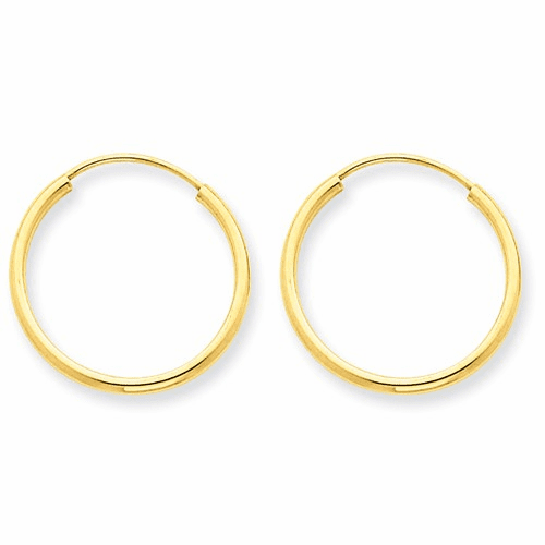 14k 1.5mm Polished Round Endless Hoop Earrings Xy1159
