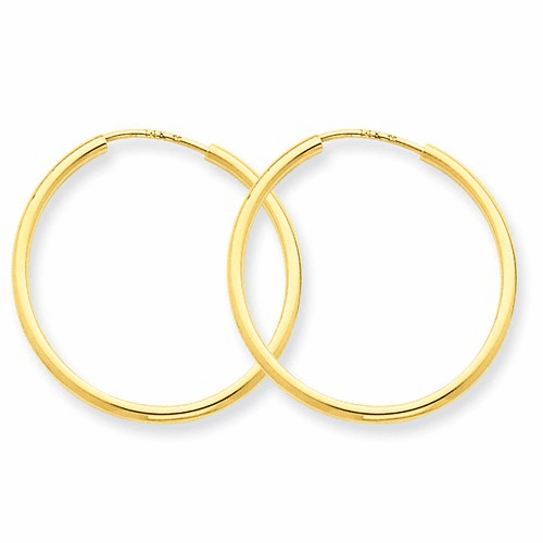 14k 1.5mm Polished Round Endless Hoop Earrings Xy1160