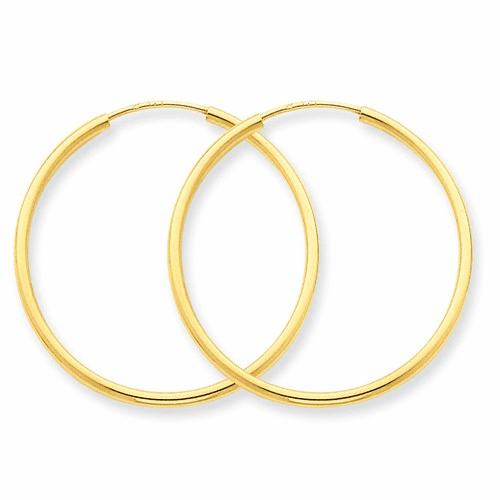 14k 1.5mm Polished Round Endless Hoop Earrings Xy1161