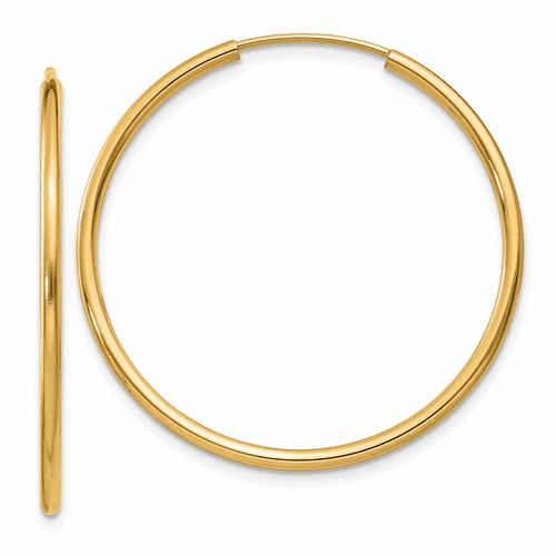 14k 1.5mm Polished Round Endless Hoop Earrings Xy1162