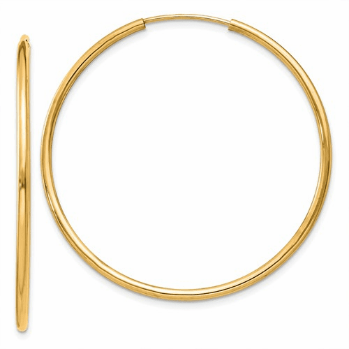 14k 1.5mm Polished Round Endless Hoop Earrings Xy1163