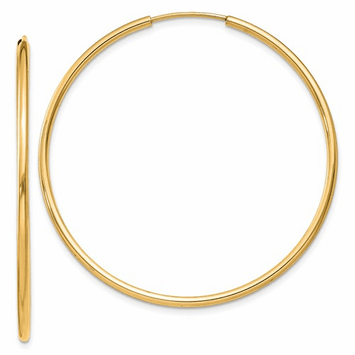 14k 1.5mm Polished Round Endless Hoop Earrings Xy1164