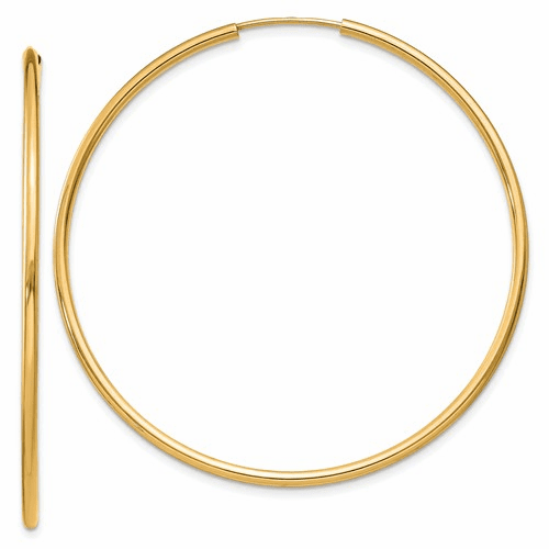 14k 1.5mm Polished Round Endless Hoop Earrings Xy1165