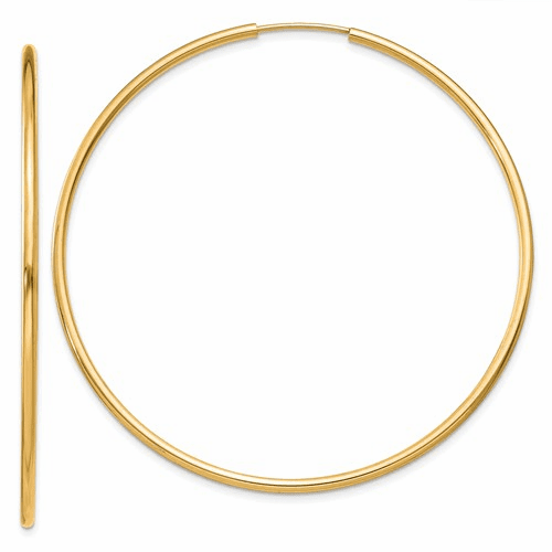 14k 1.5mm Polished Round Endless Hoop Earrings Xy1166