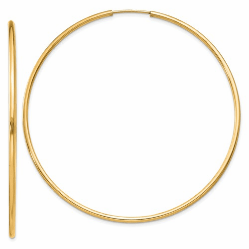 14k 1.5mm Polished Round Endless Hoop Earrings Xy1167
