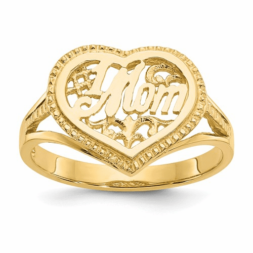 14k #1 Mom In Heart Ring D938