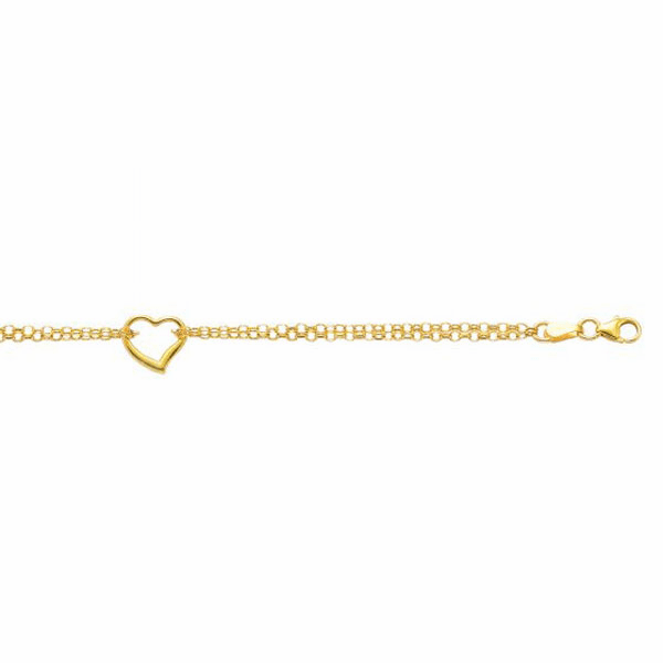 "14K 10"" Yellow Gold Double Strand Cable Chain Anklet/ Open Heart Charm"