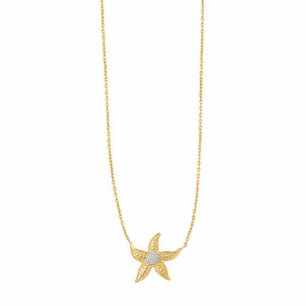 """14K 18"""" Yellow/White Gold Shiny Cable Chain Starfish Sea Life Necklace"""