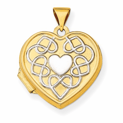 14k 18mm Heart Rhodium Heart Of Gold Locket Xl520