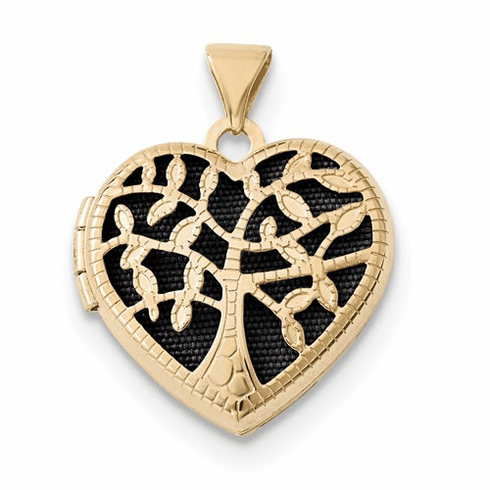 14k 18mm Heart W/tree Locket Xl696