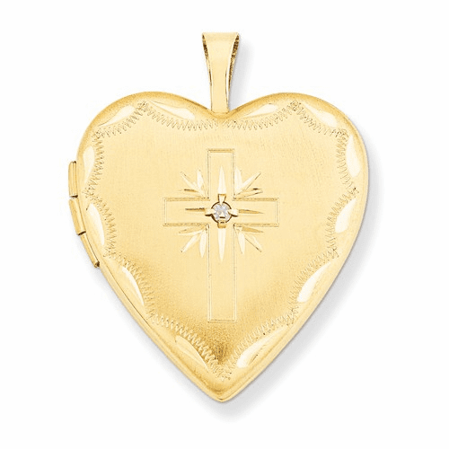 14k 20mm Diamond Set Cross Heart Locket Xl584