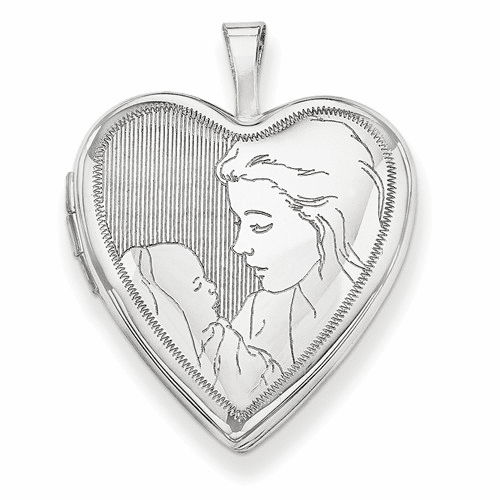 14k 20mm White Gold Mother And Child Heart Locket Xl609