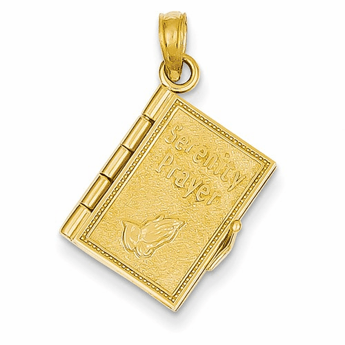 14k 3-d Moveable Pages Serenity Prayer Book Pendant C4424