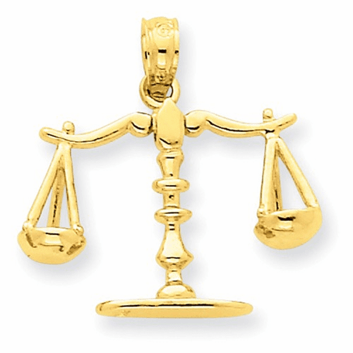 14k 3-d Moveable Scales Of Justice Pendant C3122