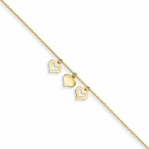 14k 3 Hearts W/1 Inch Extension Anklet Ank233-10