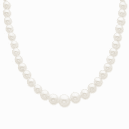 14k 4-8mm Graduated White Fw Cultured Pearl Necklace Xf373-18