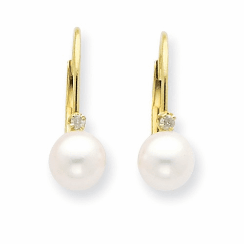 14k 5-6mm Round Fw Cultured Pearl And Diamond Leverback Earrings