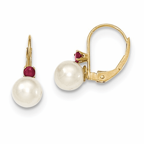 14k 6-6.5mm White Fw Cultured Pearl & .10ct. Ruby Leverback Ear