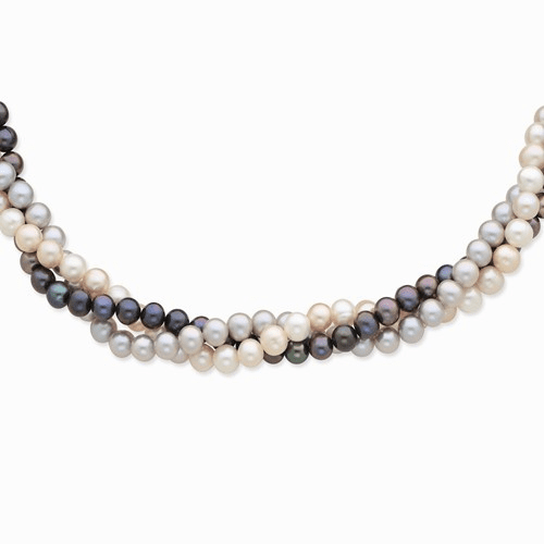 14k 6-7mm Multicolor Fw Cultured Pearl Necklace Xf413-18