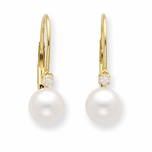 14k 6-7mm Round Fw Cultured Pearl And Diamond Leverback Earrings