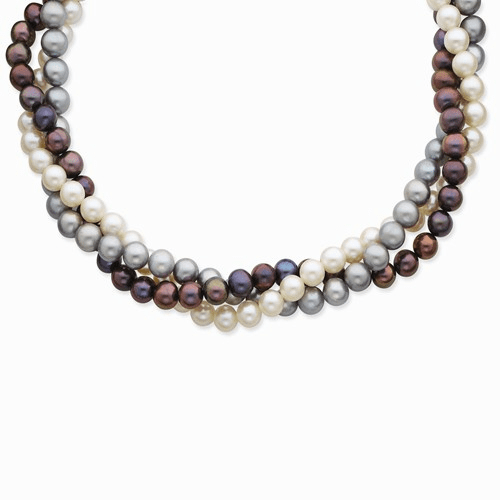 14k 6-7mm White, Black & Grey Fw Cultured Pearl Necklace Xf412-18