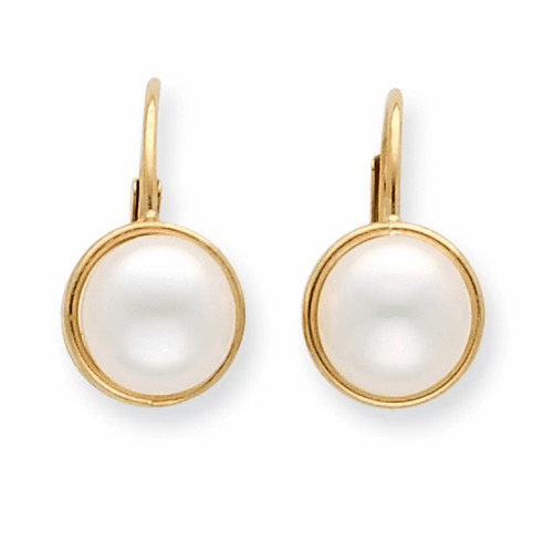 14k 6-7mm White Fw Cultured Button Pearl Leverback Earrings Xf265e