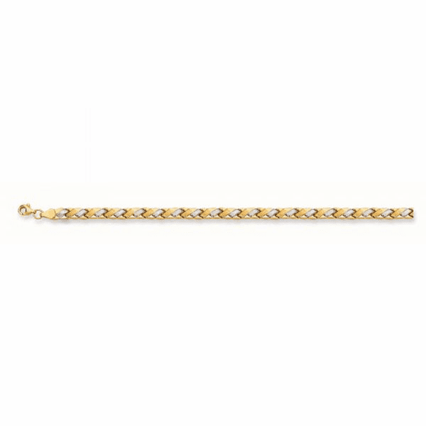 "14k 7.25"" Yellow/White Gold Diamond Cut Graduated Weaved Type Bracelet"