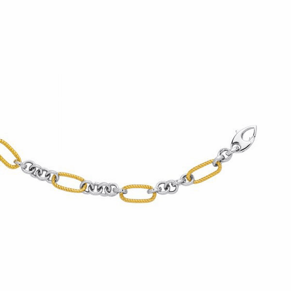 "14k 7.5"" Yellow/White Gold Textured Euro Link Bracelet with Fish Clasp"