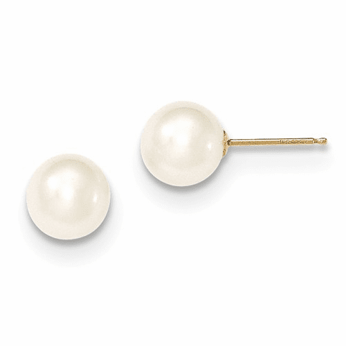 14k 7-8mm White Round Fw Cultured Pearl Stud Earrings X70pw
